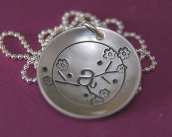 PERCHED LETTER on a BRANCH Custom Hand Stamped Personalized Initial Pendant Necklace