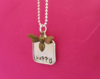 BE HAPPY Hand Stamped Tag and Charm Pendant Necklace