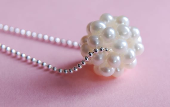 BALL O PEARLS  Sterling Silver White Pearl Ball Cluster  Necklace