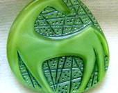 Czech Glass HORSE Button - Green Glass Modified Triangle Moonglow Button