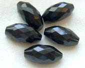 Antique Glass Buttons - Set 5 Faceted Black Glass Modified Spindle w/ Brass Shanks
