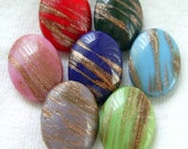 SALE Vintage Glass Buttons - Set of 7 Colorful Oval Glass Buttons w/ Goldstone Overlay