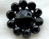 SALE Victorian Era Riveted Black Glass Flower Button with Steel Base - Circa Late 1800s