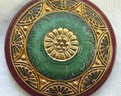 LG Czech Glass Button - Green & Black Reverse Painted Edwardian FLORAL w/ Gold Wash