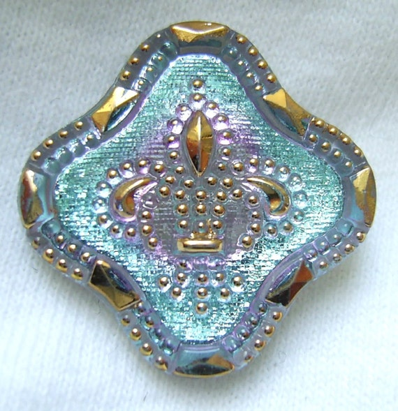 Czech Glass Button - Ice Blue Mirror Back FLEUR DE LIS Floral w/ Gold Luster