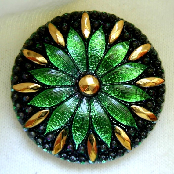 LG Czech Glass Button - Emerald Green Mirror Back DAISY w/ Faceted Gold Luster Detail