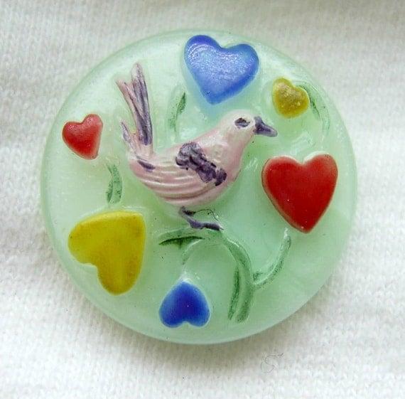 Czech Glass Button - Mint Glass LOVEBIRD Bird w/ Colored Hearts