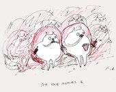Movie Art- Cat Treats- Movie Poster- Fine Art Print-  Movie Cats- Oscars