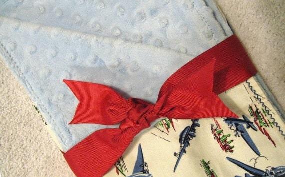 Vintage Airplane Baby Blanket