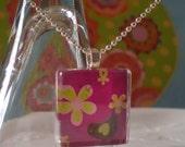 glass tile necklace sweet little birdie