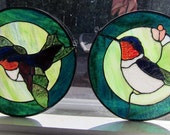 Matching hummingbird Stained glass panels