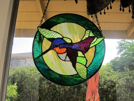 Flying humming bird  Stained glass panel