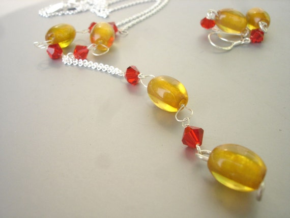 Stunning Amber Necklace and Earring Set - Amber and Swarovski Set