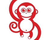Small happy monkey wall decal