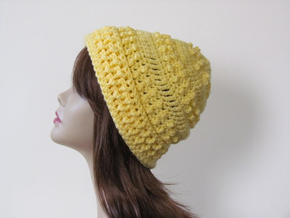 SALE HALF PRICE Yellow Hat Crochet Textured Hat Buttercup Yellow for Women  - Ready to Ship - Direct Checkout