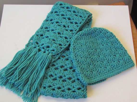 CHRISTMAS SALE Turquoise Hat and Scarf Set -  Toddler Hat and Scarf Set Suitable 1-3 years - Ready to Ship - Direct Checkout