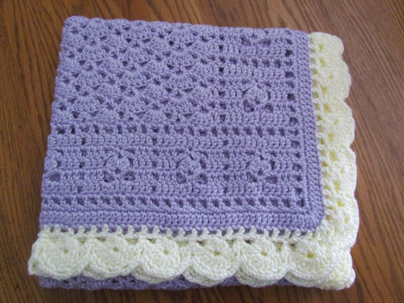 Lavender Baby Afghan Crochet Crib Size Baby Afghan Blanket - Lavender/Ivory Trim - Ready to Ship - Direct Checkout