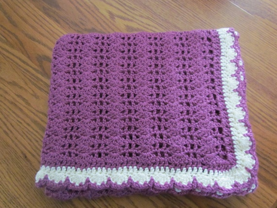 SALE Baby Afghan Crib Size Baby Afghan Blanket - Wild Berry/Ivory Trim - WAS 40.00 NOW 25.00 - Ready to Ship - Direct Checkout