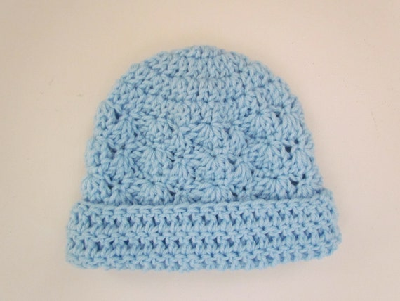 Crochet Infant Hat Blue Infant Beanie Hat For Baby Boy with Rolled Brim Suitable 3-6 Months - Ready to Ship - Direct Checkout