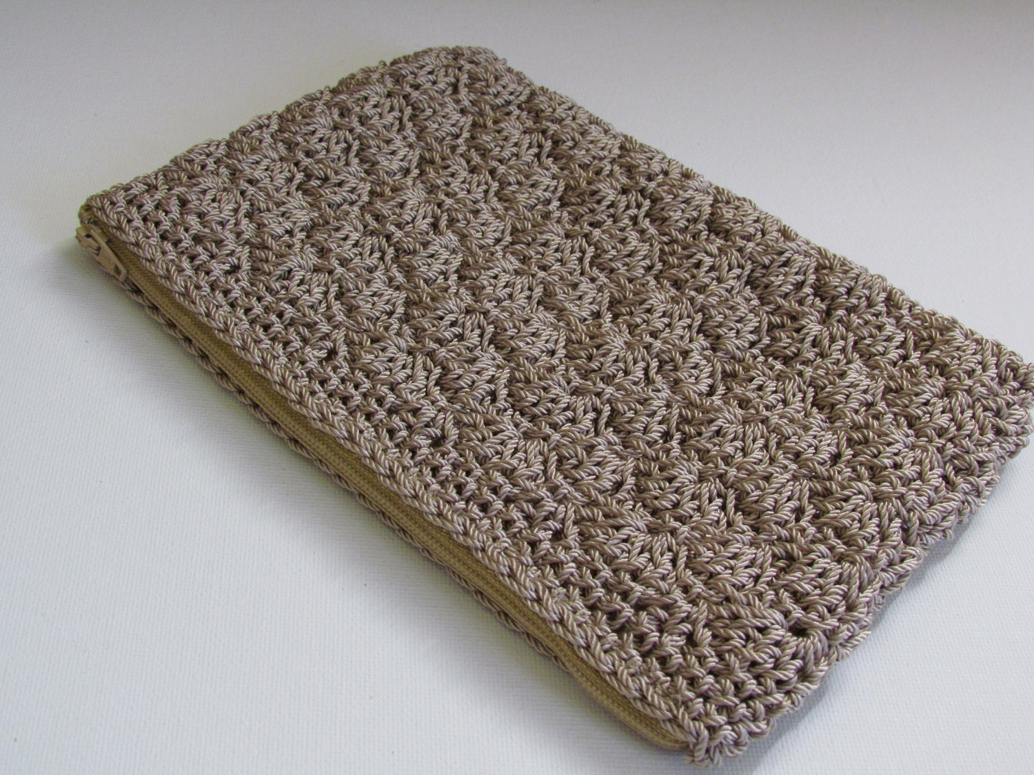 SALE Clutch Bag Purse Retro Crochet Tan Ecru Lined Clutch