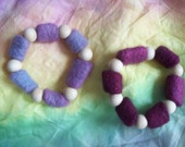 Waldorf Inspired Bracelets-Of Wood and Wool. Plum Princess Set.