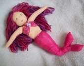 Handmade Waldorf Doll Mermaid Princess Fuchsia Pink