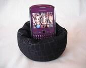 Cell Phone Bean Bag Chair or Kindle Kouch (eReader Rest) Moc Croc Black on Black