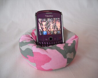 Cell Phone Bean Bag Chair or Kindle Kouch (eReader Rest) Pink and Green Camo