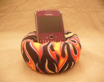 Cell Phone Bean Bag Chair or Kindle Kouch (eReader Rest) Orange Gold and Blue Flame on Black