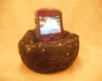 Cell Phone Bean Bag Chair or Kindle Kouch (eReader Rest) Mystical Silver Stars on Black