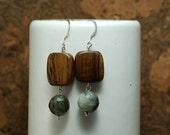 Wood and Sea Agate Earrings