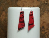 Small Red and Black Printed Leather Earrings