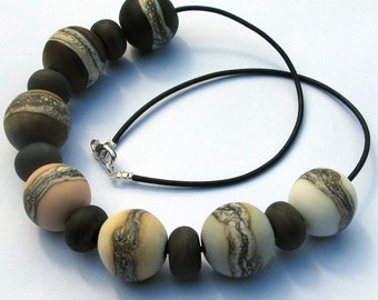 Cool Rocks Lampwork Glass Bead Necklace SRA