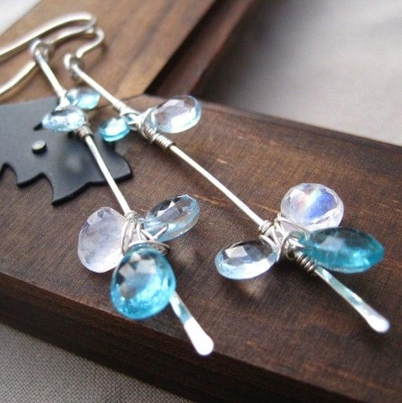 Gemstone Earrings Blue Topaz Apatite Moonstone Sterling Silver Wedding Fashion Bride Free Shipping