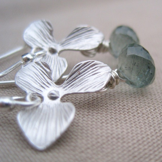 Moss Aquamarine, Orchid and Sterling Silver - Mossy Garden Earrings