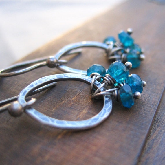 Blue Apatite Sterling Silver Earrings Teardrop  Dangle Earrings