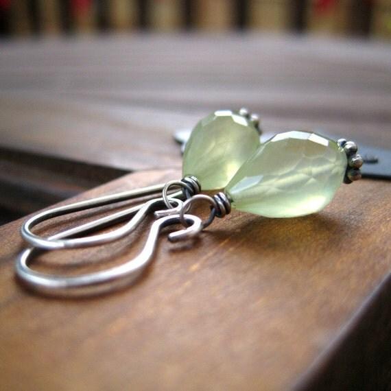 Gemstone Earrings Prehnite Sterling Silver Earrings Sage Green