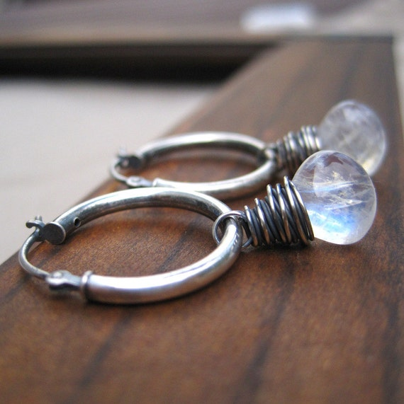 Moonstone Jewelry Sterling Silver Moonstone Hoop Earrings