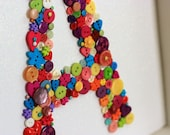 Button Monogram, custom framed wall art perfect for new baby