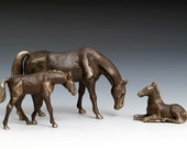 Solid Bronze Reclining Pony figurine, pasture animal