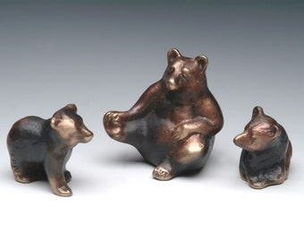 Mama Bear and Cubs, Cast Bronze Family of Bears, Small Grouping