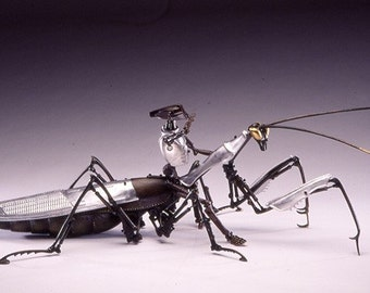 "Mantis of Prey, Large (60"") Robotic Sculpture in aluminum and bronze"