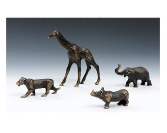 Solid Bronze Lioness Figurine, African Plains Animal