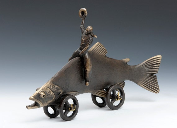 Trout Cowboy, Cast Bronze for Your Fisherman's Desk or Table