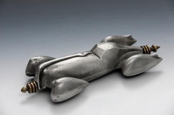 Future Car, Aluminum and Bronze Retro Future Car on Wheels