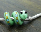 Pandora or dreadlock Snake Bead, lime w/ goldenrod stripe and turquoise dots