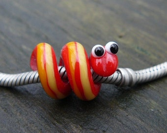 Glass Dread Bead, Dreadlock Snake Bead 4-5-6 mm hole Red Racer