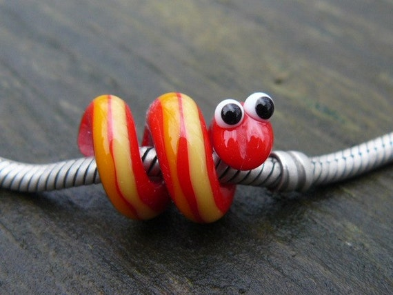 MADE TO ORDER Pandora or dreadlock Snake Bead 5-6 mm hole red w/ yellow and orange stripes
