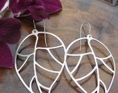 Matte Silver Abstract Leaf Earrings