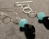 Faceted Turquoise Rondelles and Onyx Crystal Teardrops on Sterling Silver Chain and Earwires